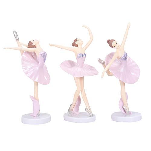 VOSAREA Ballerina Figuren tanzende mädchen Figuren dekor Ballett mädchen Ornament für Desktop büro Weihnachten neujahrsgeschenk 3 stücke (Rosa)