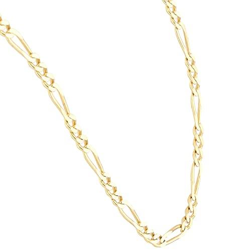 Jollys Jewellers Cadena Figaro de oro amarillo de 9 quilates de 20 pulgadas para hombre (2 mm de ancho)