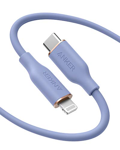 Anker PowerLine III Flow USB C auf Lightning Ladekabel PD kompatibel mit iPhone 12 Pro Max1211 ProXXSXR8 Plus AirPods Pro 180cm Apple MFi zertifiziert Silikagel in Lavendel
