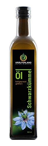 Kräuterland Schwarzkümmelöl 500ml - gefiltert, kaltgepresst, ägyptisch, 100{ae9a2fbd673af4d9c92cee9b469bad42528482ab6c793bfa5148a5e7bac9036c} naturrein, mild