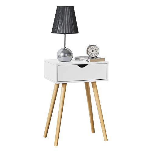 [en.casa] Beistelltisch Östersund mit Schublade 60x40x30 cm Kommode Retro Nachttisch Schubladentisch Massivholz Spanplatte Weiß