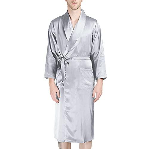 LZJDS Bata De Baño para Hombre Seda Kimono Pijamas, Bata Albornoz de para Dormir/Casa/Cama/SPA,Plata,XL