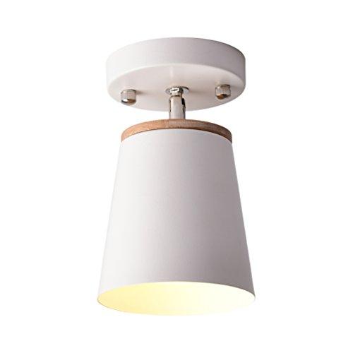 Mini plafonnier moderne en bois - Blanc - En fer - Réglable à 180 ° - Applique murale créative - Éclairage intérieur - Lampe de chevet - Design rond - Style simple et contemporain