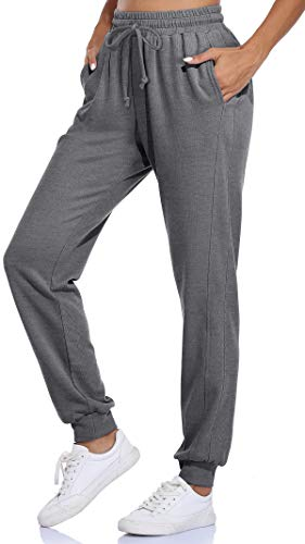 Fulbelle Grey Sweatpants, Womens Workout Solid Pants Jogger Track Cuff Sweatpants Casual Pajamas Leggings High Waisted Pajama Yoga Fitness Exercise Sports Activewear Large