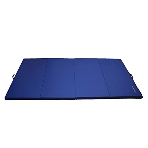 HemingWeigh 1.5 Inch Extra Thick Exercise Mat, Gym Mats for Home Workout, Tumbling Mat for Kids Gymnastics Equipment, Folding Mat for Martial Arts, 3 Fold, Dark Blue