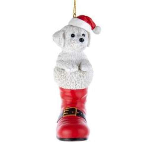 Kurt Adler D3696BF Bichon Frise in Santa Boot Ornament, 4.92-inches Tall