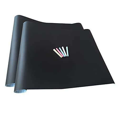 2x Papel Láminas Pizarra Negra Autoadhesivas 200 x 45 cm | Removible, Personalizable, Borrable | Pizarrón Negro para Escuela, Casa, Cocina, Oficina | 5 Tizas de Color GRATIS