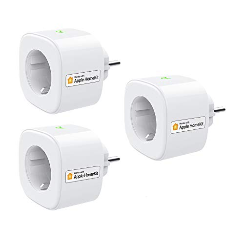 Smart Steckdose funktioniert mit Apple Siri, meross WLAN Plug, Intelligent Stecker, kompatibel mit Apple Homekit, Alexa, Google Assistant und SmartThings, kein Hub erforderlich, 16 A, 2,4 GHz, 3 pcs