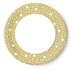 10 Teller D 22 cm Pappteller Weihnachten Sterne gold weiß Christmas Winter-Grillen