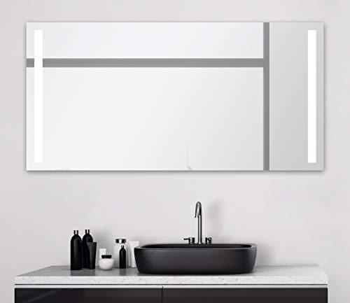 Badspiegel mit Beleuchtung Talos Light - Badezimmerspiegel 140 x 70 cm - mit hinterleuchteten Lichtausschnitten - Lichtfarbe neutralweiß - hochwertiger Aluminiumrahmen mit Kippschalter