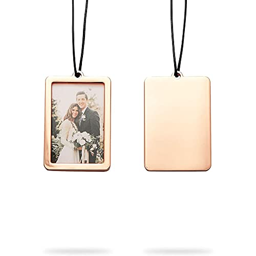Rearview Mirror Car Picture Frame, Rose Gold Gift Set for Photo (2 x 3 in, 2 Pack)