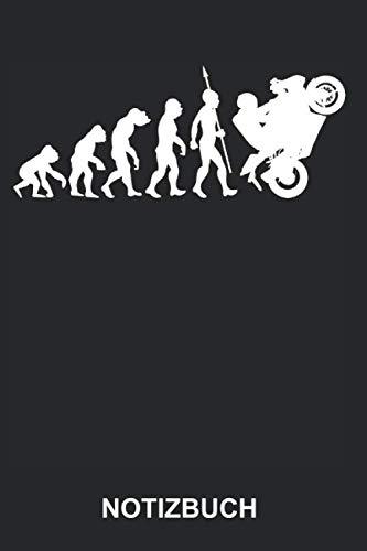 Notizbuch: Motorrad Motorradfahrer Motorradfahren Motorsport Biker Evolution Lustig Witzig | Notizbuch, Tagebuch, Notizheft, Schreibheft | ca. A5 mit ... Seiten liniert | Softcover | weißes Papier