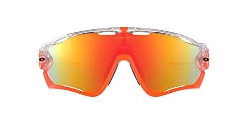 Oakley Men's OO9290 Jawbreaker Polarized Shield Sunglasses, Matte Clear/Fire Iridium, 31 mm