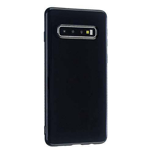 CrazyLemon Hülle für Samsung Galaxy S10, Niedlich Volltonfarbe Klar Gelee Design Weich TPU Silikon Slim Dünn Handyhülle Stoßfest Schutzhülle - Schwarz