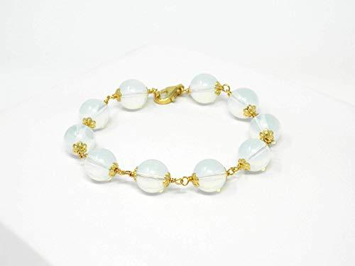 Silber Armband mit transparenten runden Opalsteinen