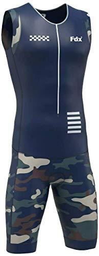 FDX - Tuta da triathlon da uomo, imbottita, traspirante, per corsa, nuoto Blu Navy/Camo S