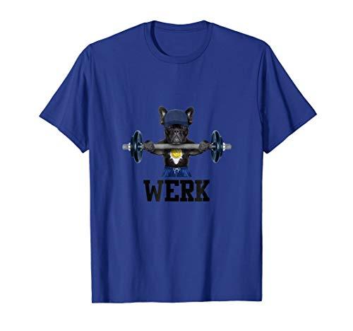 Funny Gym French Bulldog Lifting Weights Werk T-shirt