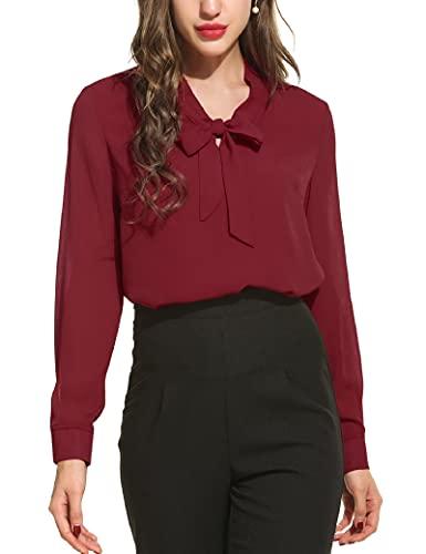 ADYD Camisa de gasa de color sólido con cuello de lazo y manga larga para mujer elegante suelta trabajo oficina blusa, rojo vino, S