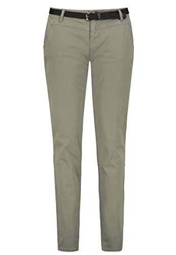 Urban Surface Damen Chino Stoff-Hose mit Flecht-Gürtel Middle-Green XL