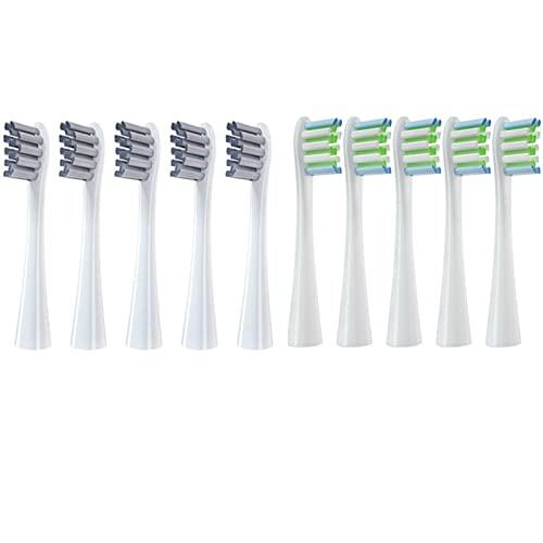 YYCHER 10 cabezales de cepillo de dientes eléctrico para Oclean X/X PRO/Z1/F1/One/Air 2/SE Sonic Soft DuPont cerdas boquillas (color 5White5Greay)