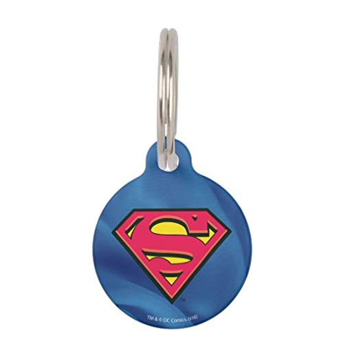 onepicebest Pet ID Tags, Personalized Dog Tags and Cat Tags, Superman S-Shield Classic Logo Pet Name Tag - Custom Double Sides Round Puppy Tag - Stainless Steel
