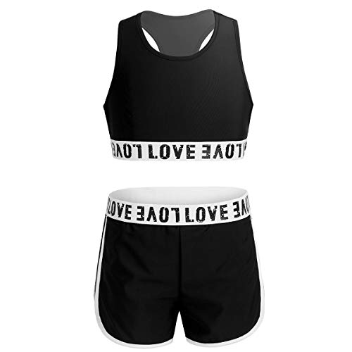 inhzoy Girls Two Pieces Printed Fitness Sports Outfits Tracksuits Crop Top with Shorts Gymnastic Leotard Activewear Black 14 Years