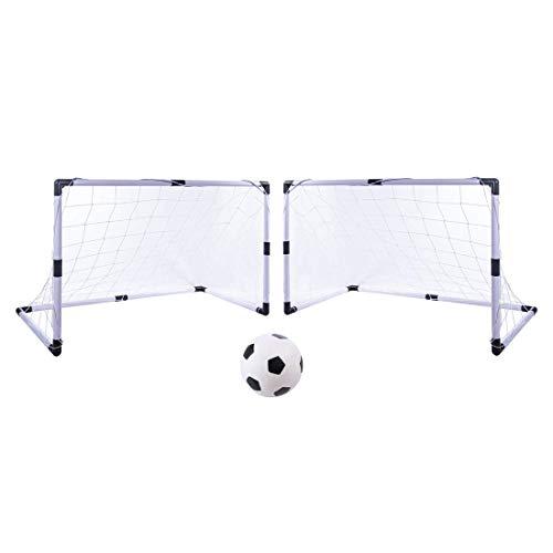 LVPY Set 2 Porte da Calcio con Reti 92*61*48cm per Bambini da Giardino Esterno Penalty Zone -Bianco