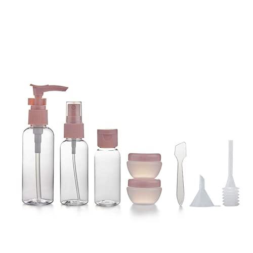 TOFBS 8 Pack ReiseFlaschen Set für Handgepäck Kosmetika,mit Kulturbeutel,Auslaufsicher Container für Shampoo, Lotion, Conditioner, Duschgel, Öl-Creme
