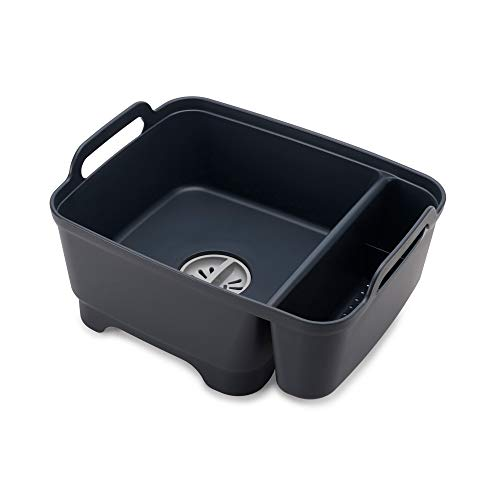 Joseph Joseph Wash and Drain Store Washing Up Bowl with Plug and Storage Bay - Grey