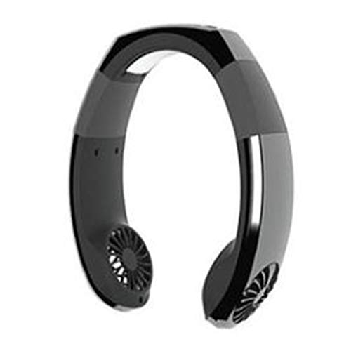 HehiFRlark - Ventilador de cuello colgante portátil USB mini ventilador de aire mecánico de bajo ruido, color negro