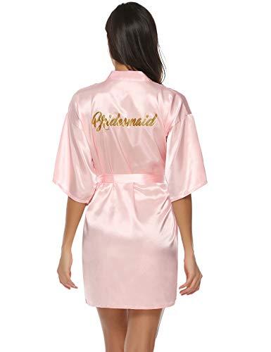 Aiboria Damen Morgenmantel Kimono Kurz Robe Bademantel Satin V Ausschnitt mit Gürtel Hochzeit Brautjungfern Braut für Party