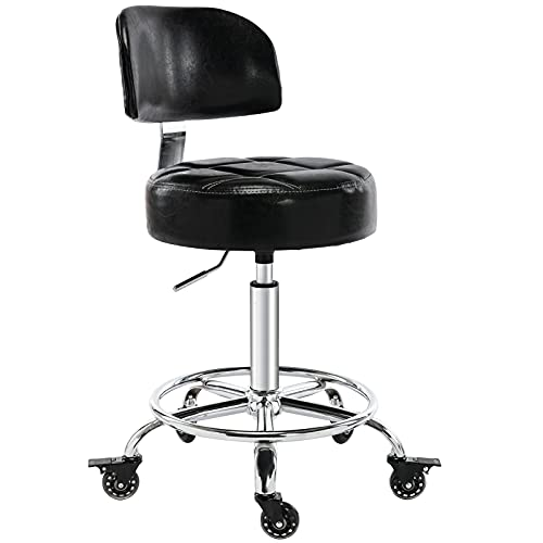 CoVibrant Lockable Stool with Back Ergonomic Rolling Hydraulic Adjustable for Doctor Esthetician Artist Home Small Office Desk