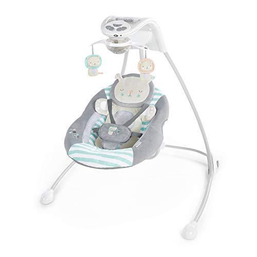 Ingenuity, Babyschaukel Landry Löwe mit mehr als 16 Melodien, Lichtern, 2 Neigewinkeln, herausnehmbarem Polster, Smartphone-Funktion, zusammenklappbarem Rahmen und Netzteil