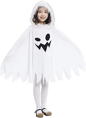 Brcus Kids White Ghost Halloween Cloak Costumes Toddlers Elf Cape Cosplay Role Play 2-4T