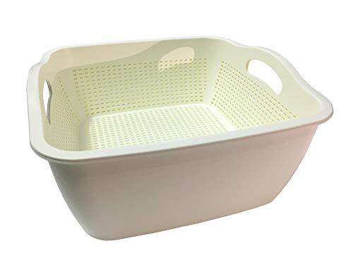Colander Strainer For Fruit and Vegetable, Stackable Soaking Bowl and Colander Set, 2 in 1 (style 1)