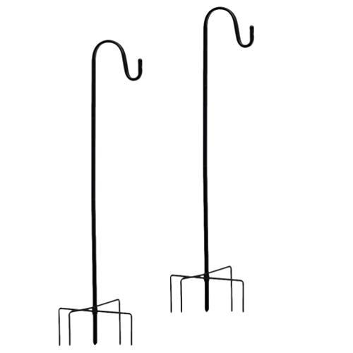 DOITOOL 2Pcs Metal Shepherd Hook Garden Hanging Stake Hummingbird Bird Feeder Pole Yard Plants Basket Hanger Pathway Light Solar Lantern Mason Jar Wind Chimes Hanger