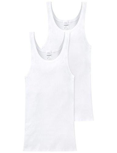 Schiesser Herren Unterhemd 2 er Pack 205172-100, Gr. 5 (M), Weiß (100)