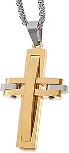 Yiffshunl Collar Colgante Fresco Collar de Acero Inoxidable Hombres Cruz Collar Murano Crucifijo Cristiano Collar de joyería Regalo