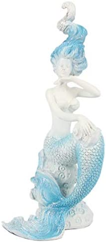 HONGLAND Mermaid Resin Figurine Blue Tailed Decorative Statue Ocean Art Decor Collectibles Sculpture Sitting On Sea Rock