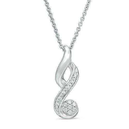 Colgante de llama de diamante transparente de corte redondo de 1/3 quilates para mujer con cadena de 45,7 cm en plata de ley 925 maciza