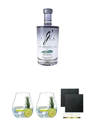 G' Vine Nouaison Gin Frankreich 0,7 Liter + Gin Tonic Glas - 5414/67 + Gin Tonic Glas - 5414/67 + Schiefer Glasuntersetzer eckig ca. 9,5 cm Ø 2 Stück