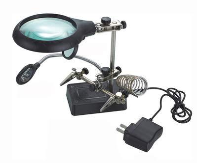 HunterBee - Lupa de mano con luz LED de 2,5 x 7,5 x 10 x 10 aumentos, soporte de lupa con pinza y pinzas de cocodrilo, para soldadura, reparación, manualidades de hobby, modelismo, etc.