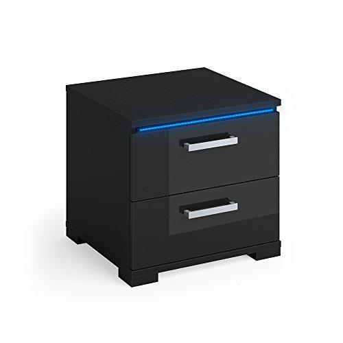 Vicco Nachtschrank Picot schwarz Hochglanz LED Nachttisch Kommode Schrank Schlafzimmer Schublade