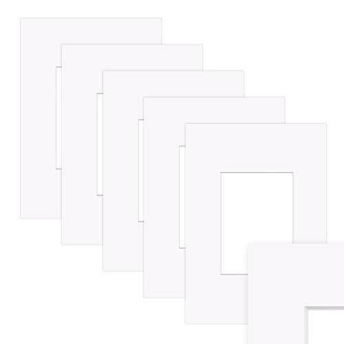 PHOTOLINI 5X Passepartout Weiß 20x30 cm (13x18 cm) Reinweiß
