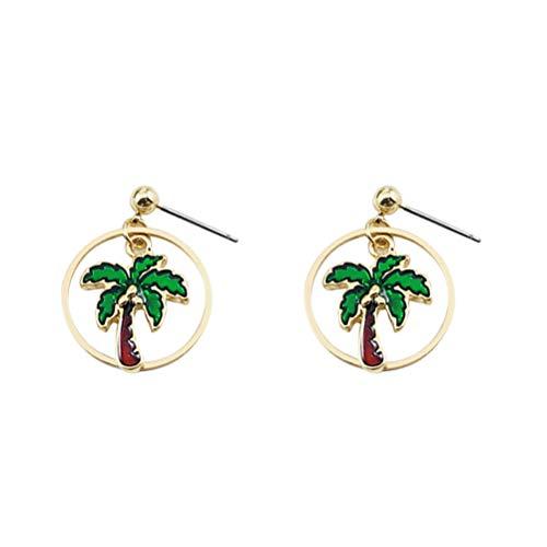 Pendientes de botón de árbol de Coco para Mujer Dulces, pequeños, Frescos, cuelgan Tachuelas para la Fiesta Hawaiana