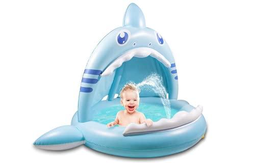 GLYHVXZ Piscina Infantil, Piscina Hinchable Infantil Tiburón con Techo de Protección Solar Piscina Bebe con Chorro de Agua Piscina Niños para Balcón, Jardín, Ducha, Terraza