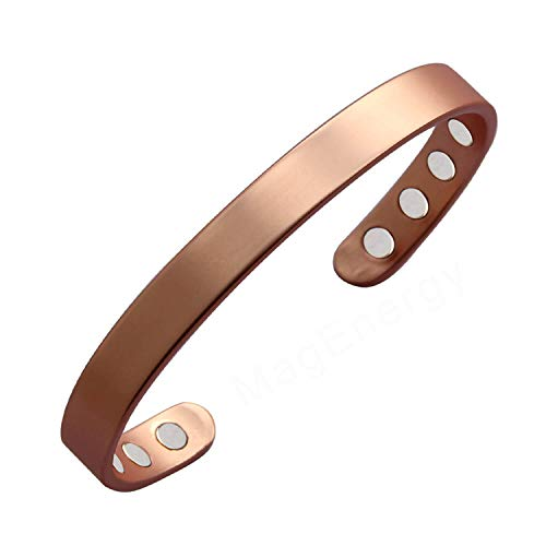 Copper Bracelet for Men and Women 99.9% Pure Copper Bangle 6.5 Adjustable for Arthritis with 8 Magnets for Effective Joint Pain Relief, Arthritis, RSI, Carpal Tunnel