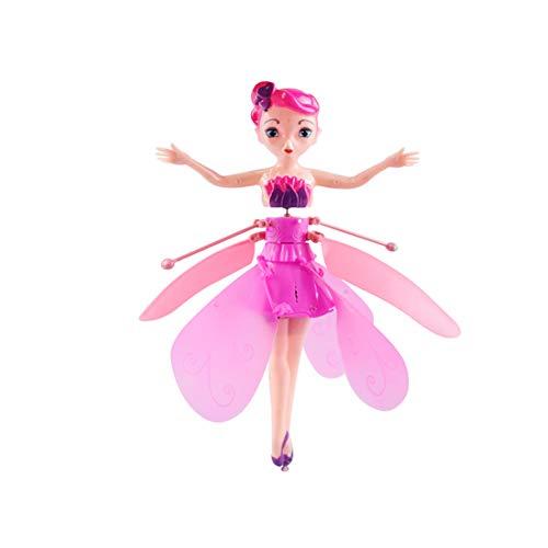 Hengyuany Muñeca de Moda, muñeca de Hadas con luz, avión controlado por Sensor infrarrojo (Rosado)