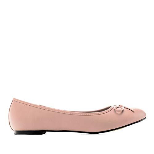 Flache Ballerinas für Damen und Junge Frauen mit flachem Blockabsatz und dekorativer Schleife - Loafer - TG104 – Große Auswahl an Farben und Ausführungen – Große Größen von 41 bis 46