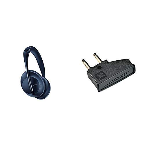 Auriculares inalámbricos Bluetooth Bose Noise Cancelling Headphones 700, con Control por Voz de Alexa, Azul + Bose QuietComfort 3 - Adaptador para avión